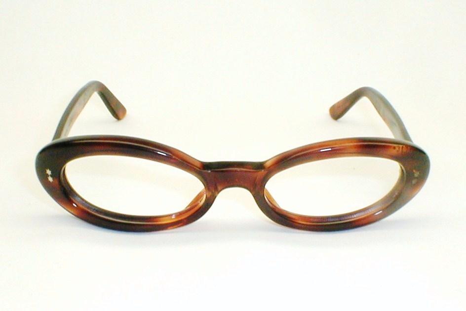 Eyeglass Frames Size 60 : Womens 50s-60s Rhinestone Cat Eye Glasses