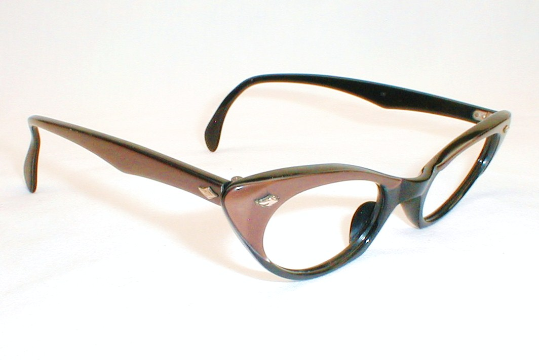 Eyeglass Frames For Large Eyes : Pink Copper Cat Eye Frames, Catseye Glasses, 1950s - 1960s