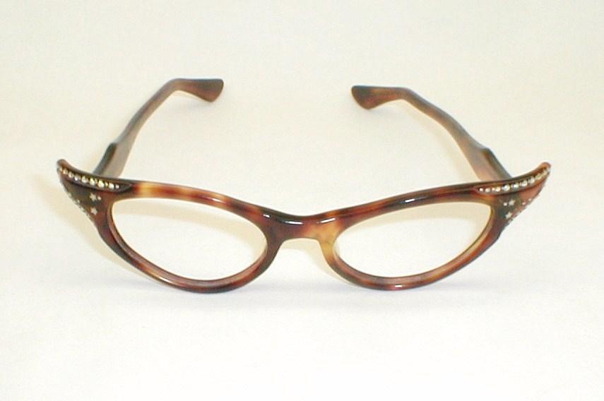 Womens 50s-60s Rhinestone Cat Eye Glasses
