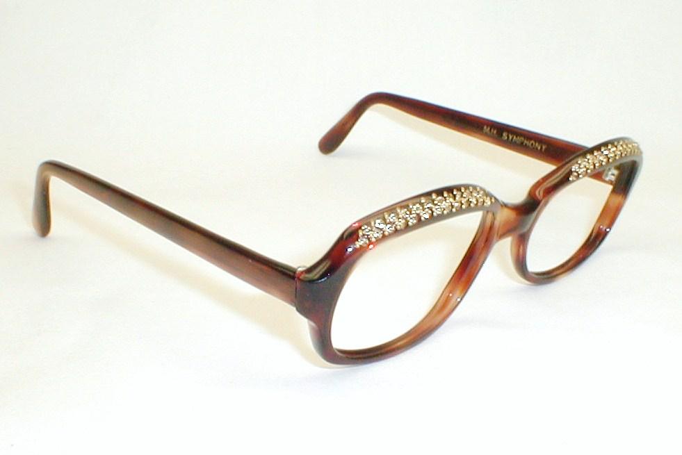Ladies Eyeglass Frames Rhinestones : Womens Large Vintage Eyeglasses, Rhinestones.