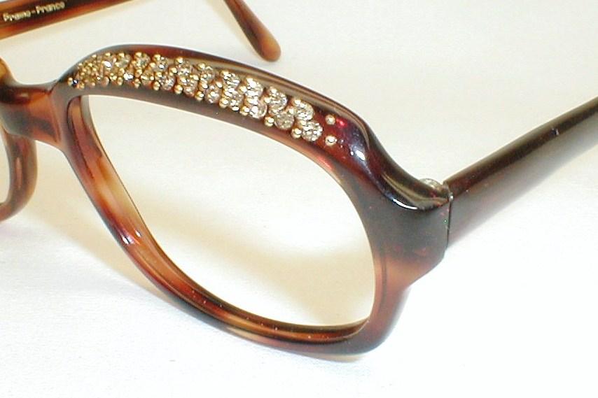 Womens Large Vintage Eyeglasses, Rhinestones.