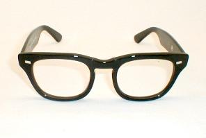 The Classic Black Horn-Rim Glasses from 1950, 1960.  Wayfarer sides with Shuron classic fronts.